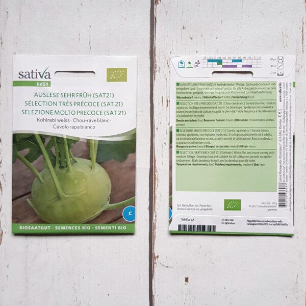 Kohlrabi (weiss) Auslese sehr früh Bio-Saatgut von Sativa