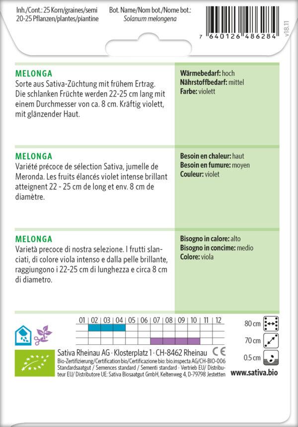 Bio-Saatgut Aubergine Melonga von Sativa